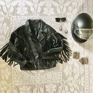 Vintage black genuine leather fringe biker jacket